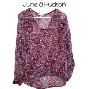 June & Hudson Faux Wrap Top Sz XL